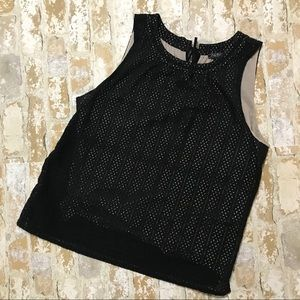 Lucky Brand Black Eyelet Tank With Linen Liner